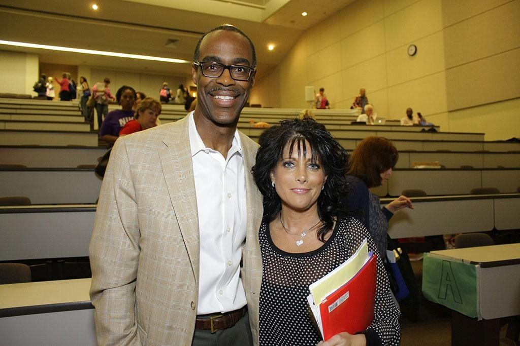 Superintendent Robert Runcie with Tropical Elementary School teacher Amy DeCelle