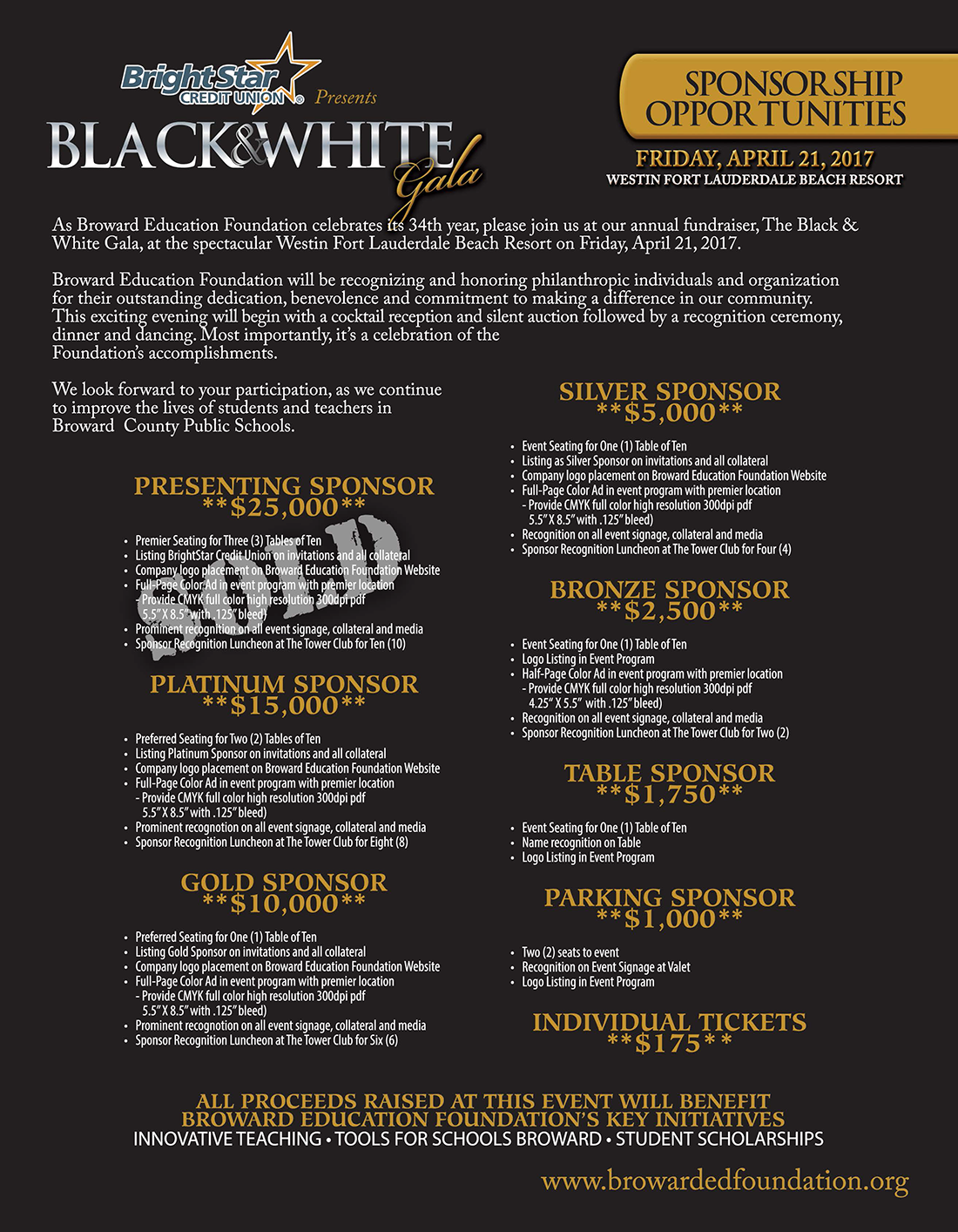 Black & White Gala Sponsorship Flyer