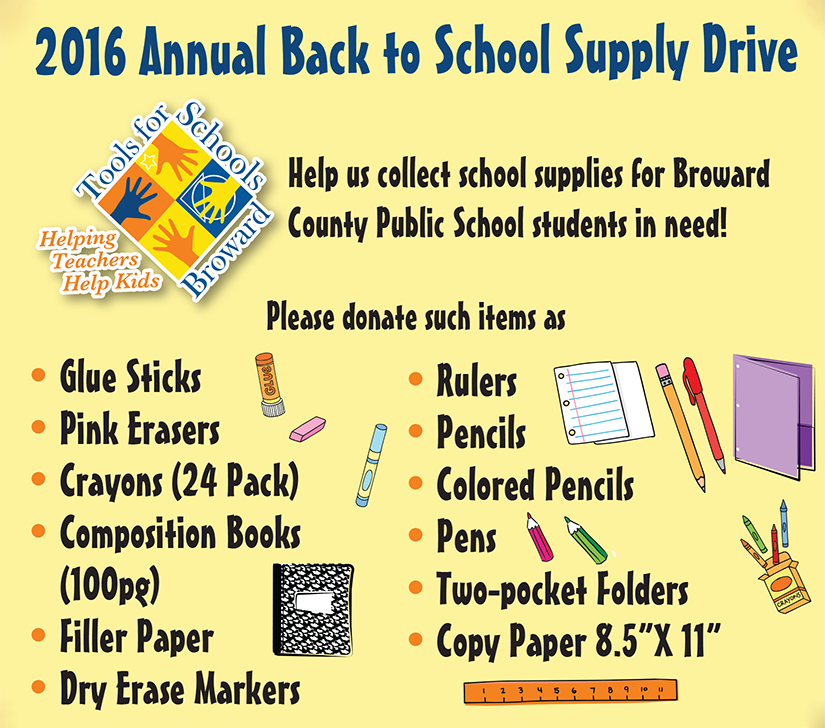 Tools for Schools Broward Annual Back to School Drive ...
